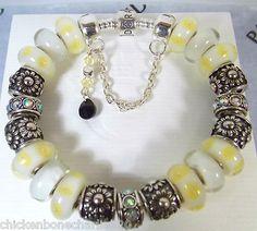"""Authentic Pandora Bracelet Yellow White Italian Murano Glass Crystals 8 3""""   eBay $116"""