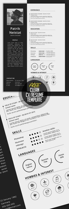 Modern Resume Template \/ CV Template + Cover Letter Professional - make a resume for free and download