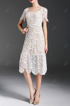 white midi lace trumpet dress