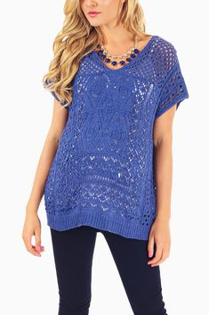 Blue-Open-Knit-Cap-Sleeve-Maternity-Top #maternity #fashion #cutematernityclothing #cutematernitytops #babyshoweroutfitideas #transitionalclothing