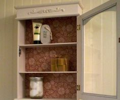 DesignDreams by Anne: A Vintage Look for the Bathroom could do something like this for the cabinet over the desk in my room Diy Furniture Decor, Painted Furniture, Diy Home Decor, Bathroom Shelves, Bathroom Medicine Cabinet, Over The Desk, Shabby Cottage, Cottage Bath, Master Bedroom Bathroom