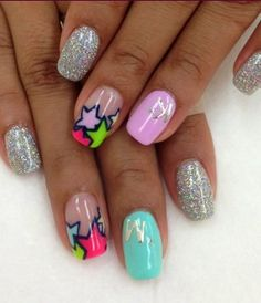 Love these neon star nails as much as I do? Get them as a custom Jamberry Nails design by contacting me at facebook.com/glamjamsquad!