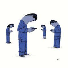 A marca do Facebook nunca fez tanto sentido (ilustração do polonês Michał Dziekan).   O Facebook é a maior rede social do mundo. Muito provável que seu cliente esteja lá!  Tente engajá-lo na rede e traga-o para seu site: transforme ele em um lead.  Mais dicas de estratégias de Facebook no meu curso on-line de Inovação Digital (nova turma em breve).