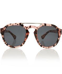 Linda Farrow Pink Dries Van Noten Acetate Aviator Sunglasses | Sunglasses by Linda Farrow | Liberty.co.uk
