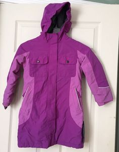 Lands' End Squall Girls Grow-a-longs Waterproof Hooded Thumb Hole Jacket M 5-6 #LandsEnd #Parka