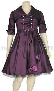RocKabiLLy Mad Men Purple TRENCH Plus Size Swing Dress ~ 50s PsyChoBiLLy GothIc | eBay