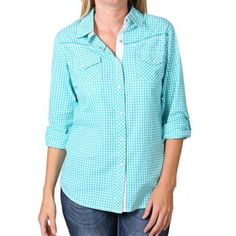 Cowgirl Up Women's Embroidered Plaid Long Sleeve Western Shirt