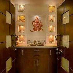 While designing the interior of new home, Pooja rooms and Mandir are the most important spaces to be taken in considerations.This mostly come with spatial and space orientation( VastuShastra). Temple Room, Home Temple, Temple Design For Home, Mandir Design, Pooja Room Door Design, Pooja Rooms, Room Doors, Modern Room, Ceiling Design