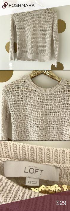 LOFT Tan Knit Sweater Super lightweight knit sweater by LOFT in light tan/cream. Perfect layering piece year round. Size XS LOFT Sweaters Crew & Scoop Necks