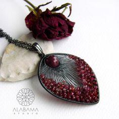 ALABAMA - Ruby raspberry pendant #polandhandmade, #wire_wrapping, #jewelry