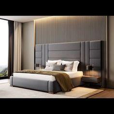 Amazon X-L Bed With Huge Headboard & 2 Side Tables Walnut Grey Fabric