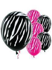 GiRl PaRtY!! (Latex Black & Pink Zebra Print Balloons)