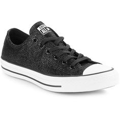 Converse Lace-Up Leather Shimmer Sneakers ($75) ❤ liked on Polyvore featuring shoes, sneakers, black, black slip on shoes, slip-on sneakers, leather sneakers, black slip-on shoes and converse sneakers