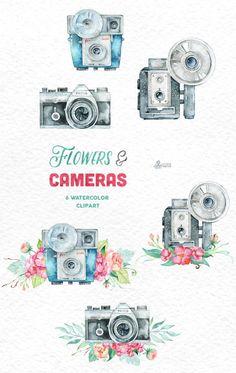 Blumen & Kameras. 6 Handpainted Clipart Einladung von OctopusArtis