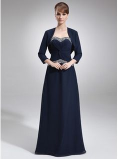 A-Line/Princess Sweetheart Floor-Length Chiffon Mother of the Bride Dress With Ruffle Beading (008016763) - JJsHouse