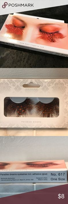 Baci Paradise Dreams Feather Eyelashes New in Box!  Adhesive included! Baci Lingerie Makeup False Eyelashes