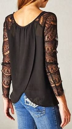 Gorgeous black lace sleeves shirt with jeans | FASHION WINDOW Please follow / repin my pinterest. Also visit my blog http://mutefashion.com/