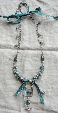 Nina Bagley blue with ribbon necklace Ribbon Jewelry, Fabric Jewelry, Wire Jewelry, Boho Jewelry, Jewelry Crafts, Jewelry Art, Beaded Jewelry, Vintage Jewelry, Jewelry Accessories
