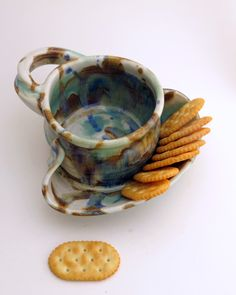 Soup+and+Cracker+Bowl+Stoneware+Pottery+by+Hertzpottery+on+Etsy,+$24.00