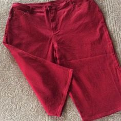 "Style & Co. Stretch Capris, Burgundy-Cherry Style & Co. Woman, 24 W, cotton spandex stretch denim. Pretty color; a burgundy, cherry red, maroon. No orange tones. Measure 21.5"" flat across front of waist. Length is 18.5"".  New without tags. The threads from tag still on back pocket. Chic with black and/or white! Style & Co Pants Capris"