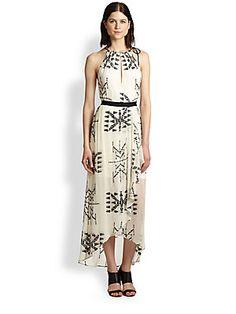 Twelfth Street by Cynthia Vincent Embroidered Silk Chiffon Maxi Dress
