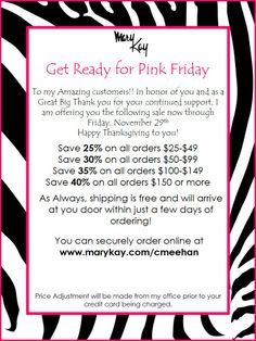 Pink Friday sale www.marykay.com/cmeehan