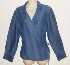 J Jill 16 XL Chambray Denim Wrap Blouse Tencel Blue Top Shirt #JJill #Chambray #Denim #Wrap Shirt #Blouse #Tencel