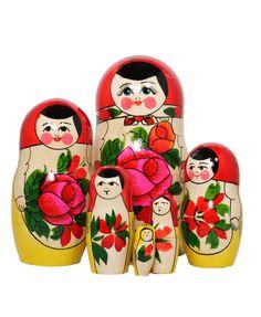 Russian matryoshka set with 7 nesting dolls with rose decoration Rose Decor, Dolls, Decoration, Baby Dolls, Decor, Puppet, Doll, Decorations, Decorating