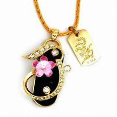 Hot Selling Jewelry USB Memory Stick with Necklace and 32MB to 16GB Available Capacity