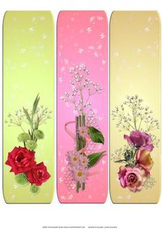 bright floral bookmarks 2 on Craftsuprint designed by Chris Harland - A set of brightly coloured bookmarks - Now available for download!