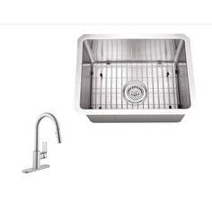 "Schon SC2267553 23"" Single Basin Undermount   Stainless Steel Bar Sink wi Chrome Fixture Kitchen Sink Combination"