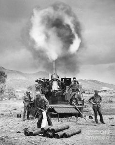 KOREAN WAR: ARTILLERY. An American 155mm 'Long Tom' self-propelled cannon joins Allied artillery on Korea's east-central front, 19 May 1951.