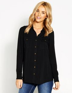 Black utility shirt (from Portmans) this is similar Blouse Online, Party Fashion, Trending Outfits, Shirt Blouses, Fashion Dresses, Clothes For Women, Chic, Casual, Womens Fashion