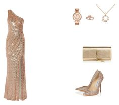 """Untitled #2"" by rusurebeca on Polyvore featuring Badgley Mischka, Jimmy Choo, Yves Saint Laurent, Allurez and Michael Kors"