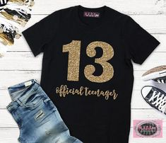 Girls 13th Birthday Shirt Double Digits Official Teenager Girl