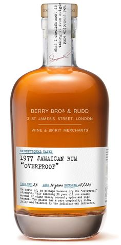 Berry Bros and Rudd Exceptional Cask 1977 Jamaican Overproof Rum