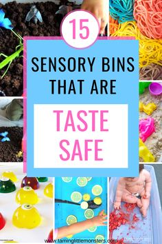 15 taste-safe sensory bins for babies and toddlers. If your kids still love to put things in their mouth, then try these sensory play ideas. These are fun and easy play actiities for even the littlest of children #sensory #babies #toddlers Sensory Bins, Sensory Activities, Sensory Play, Activities For Kids, Play Ideas, Toddlers, Preschool, Babies, Learning