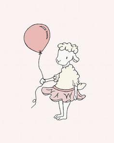 Lamb Nursery Art -- Lamb Ballerina with Balloon -- Girl Nursery Decor -- Lamb Art -- Sheep Nursery Art, Children Art Print, Kids Wall Art Sheep Nursery, Lamb Nursery, Elephant Nursery Art, Nursery Decor, Girl Nursery, Art Wall Kids, Art For Kids, Art Children, Wall Art