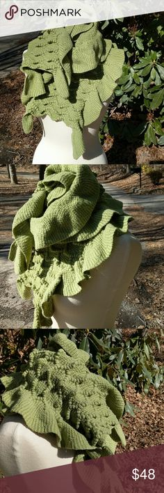 """Smartworks Merino Wool & Cotton Scarf Artisan handmade lightly felted sage green scarf with ruffled edges, lightly worn but a few areas the wool has thinned out but there is so much fabric it's not noticeable on, approximately 54"""" x 12"""" Accessories Scarves & Wraps"""