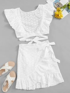 To find out about the Lace Eyelet Ruffle Knot Top & Wrap Belted Skirt Set at SHEIN, part of our latest Two-piece Outfits ready to shop online today! Skirt Belt, Lace Skirt, Two Piece Outfit, Two Piece Skirt Set, Diy Clothes, Clothes For Women, Girl Outfits, Fashion Outfits, Fashion Ideas