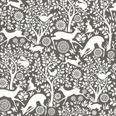 Woodland Meadow wallpaper is a wonderful quirky floral tree design featuring deer, rabbits and birds on a grey background
