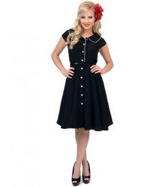 Black & White Button Up Swing Dress #uniquevintage #rockabilly