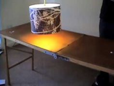 wall paper lampshade..sure wish more video tutorials were filmed this way- clean and quick!