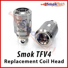 Smok TFV4 Sub Ohm Coil Replacement Head | SmokTek.com - These replacement TF coil heads are designed for use with the Smok's TFV4 and TFV4 Mini Sub Ohm Clearomizers. They are designed for maximum vapor production and pure flavor. TF coils are much larger than regular coils, and are not compatible with any other Smok atomizers.