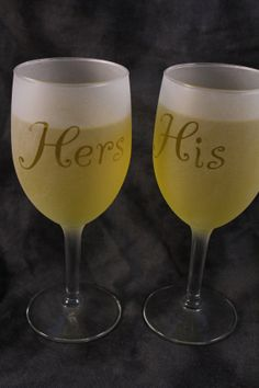 His & Hers Wine glasses for wedding anniversary by DeeLuxDesigns, $16.95