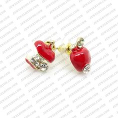 Cute Rhinestone Enamel Cartoon Apple Ear Stud Uneven