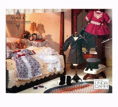 """VOGUE DOLL CLOTHES Pattern 18"""" Victorian Doll Clothes Dress Bloomers Nightgown Coat Hat Vogue 8241 American Girl Doll Craft Sewing Patterns by DesignRewindFashions on Etsy"""