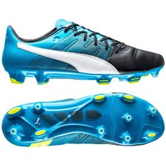 New  230 PUMA EvoPOWER 1.3 Leather FG Mens Soccer Cleats   Black   Blue 45fc185a481fe