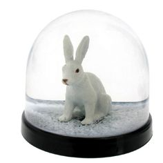 PICTURES OF RABBIT SNOW GLOBES | White Rabbit Snow Globe from Graham and Green