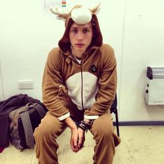 James McVey in his onezie :) <<< he doesn't seem very thrilled in this onezie.